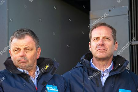 Christian Prudhomme & Peter Dodd on stage during the second stage of the Tour de Yorkshire from Barnsley to Bedale, Barnsley
