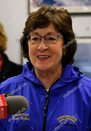 Sen. Susan Collins, R-Maine, speaks at the Portsmouth Naval Shipyard, Friday, May, 3, 2019, in Kittery, Maine