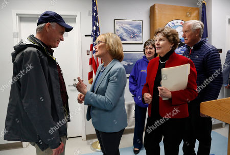 Richard V. Spencer, Susan Collins, Jeanne Shaheen, Maggie Hassan, Angus King. Secretary of the Navy Richard V. Spencer, left, speaks with Sen. Maggie Hassan, D-NH, after a news conference at the Portsmouth Naval Shipyard, Friday, May, 3, 2019, in Kittery, Maine. Members of Maine and New Hampshire's congressional delegations, including Sen. Susan Collins, R-Maine, and Sen. Jeanne Shaheen, D-NH, and Sen. Angus King, I-Maine, at right, have been working to prevent shipyard construction projects from being cut to fund President Donald Trump's wall at the southern border