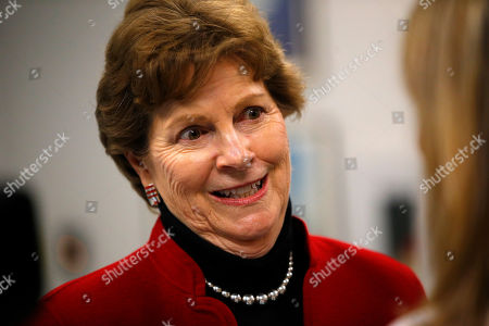 Sen. Jeanne Shaheen, D-NH, speaks to a reporter at the Portsmouth Naval Shipyard, Friday, May, 3, 2019, in Kittery, Maine