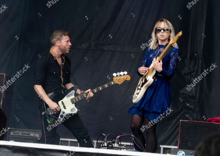 """Matthew James Thomas, Rhiannon """"Ritzy"""" Bryan. Rhydian Dafydd, left, and Rhiannon """"Ritzy"""" Bryan of The Joy Formidable perform at the 2019 Shaky Knees Festival in Atlanta's Central Park on Friday, May, 3rd, 2019, in Atlanta"""