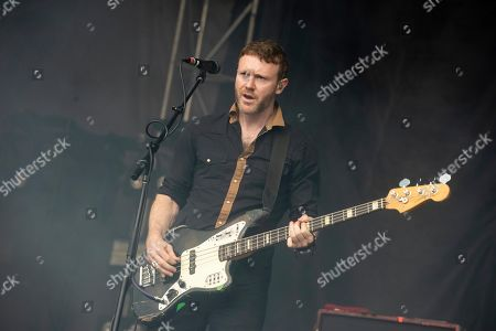 Rhydian Dafydd of The Joy Formidable performs at the 2019 Shaky Knees Festival in Atlanta's Central Park on Friday, May, 3rd, 2019, in Atlanta