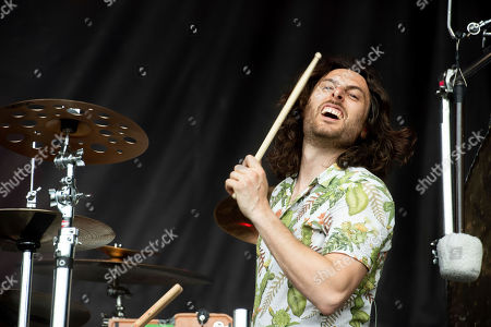 Stock Image of Matthew James Thomas of The Joy Formidable performs at the 2019 Shaky Knees Festival in Atlanta's Central Park on Friday, May, 3rd, 2019, in Atlanta