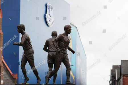 The Holy Trinity statue of former Everton players Howard Kendall, Colin Harvey and Alan Ball is displayed outside the stadium
