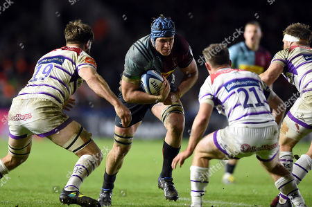 James Horwill of Harlequins takes on the Leinster defence