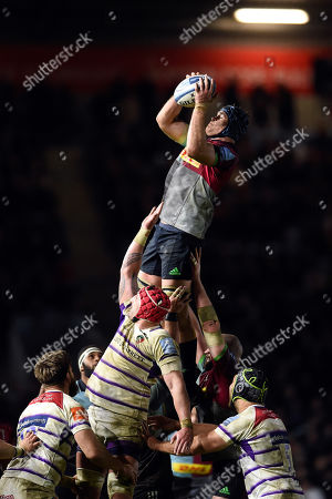 James Horwill of Harlequins wins the ball at a lineout
