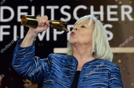 Stock Photo of Margarethe von Trotta holds her honorary life time award in the 69th German Film Awards 'LOLA' in Berlin, Germany, 03 May 2019. The most highly endowed cultural award in Germany is presented in 18 categories by the Deutsche Filmakademie (German film academy).