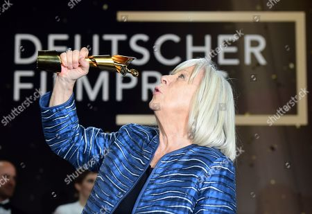 Stock Image of Margarethe von Trotta holds her honorary life time award in the 69th German Film Awards 'LOLA' in Berlin, Germany, 03 May 2019. The most highly endowed cultural award in Germany is presented in 18 categories by the Deutsche Filmakademie (German film academy).