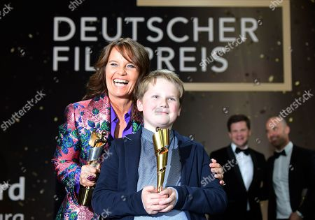 Caroline Link (L) and Julius Weckauf pose with their awards in the 69th German Film Awards 'LOLA' in Berlin, Germany, 03 May 2019. The most highly endowed cultural award in Germany is presented in 18 categories by the Deutsche Filmakademie (German film academy).