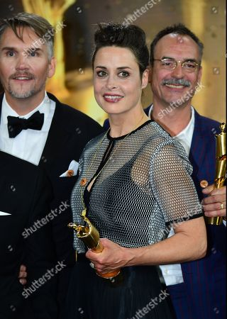 Stock Photo of Susanne Wolff holds her award for best actress in the 69th German Film Awards 'LOLA' in Berlin, Germany, 03 May 2019. The most highly endowed cultural award in Germany is presented in 18 categories by the Deutsche Filmakademie (German film academy).