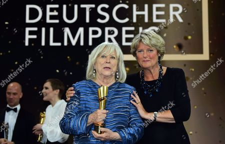 Margarethe von Trotta (L) holds her honorary life time award next to German State Culture Minister Monika Gruetters in the 69th German Film Awards 'LOLA' in Berlin, Germany, 03 May 2019. The most highly endowed cultural award in Germany is presented in 18 categories by the Deutsche Filmakademie (German film academy).
