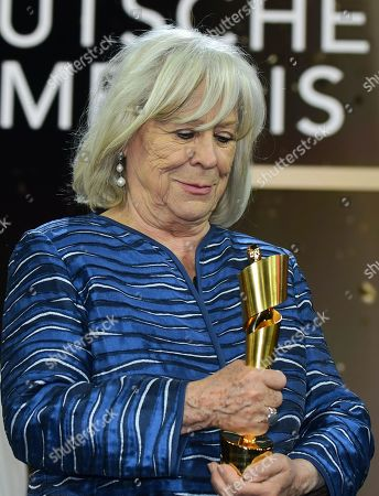 Margarethe von Trotta holds her honorary life time award in the 69th German Film Awards 'LOLA' in Berlin, Germany, 03 May 2019. The most highly endowed cultural award in Germany is presented in 18 categories by the Deutsche Filmakademie (German film academy).