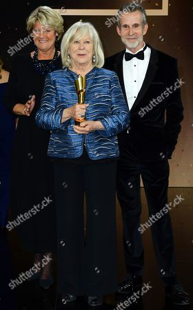 Margarethe von Trotta (C) holds her honorary life time award next to German State Culture Minister Monika Gruetters (L) and German actor Ulrich Matthes in the 69th German Film Awards 'LOLA' in Berlin, Germany, 03 May 2019. The most highly endowed cultural award in Germany is presented in 18 categories by the Deutsche Filmakademie (German film academy).