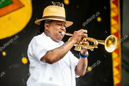 Kermit Ruffins performs at the New Orleans Jazz and Heritage Festival, in New Orleans