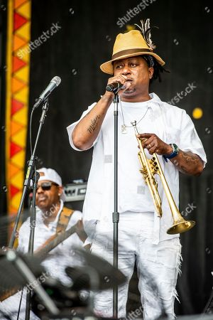 Stock Image of Kermit Ruffins performs at the New Orleans Jazz and Heritage Festival, in New Orleans