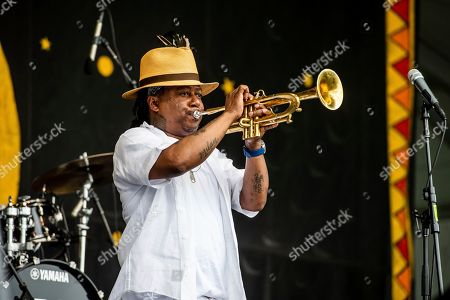 Stock Picture of Kermit Ruffins performs at the New Orleans Jazz and Heritage Festival, in New Orleans