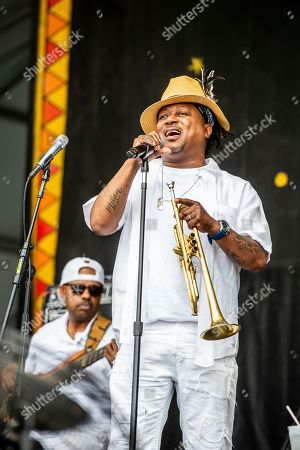 Stock Photo of Kermit Ruffins performs at the New Orleans Jazz and Heritage Festival, in New Orleans