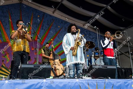 Kamasi Washington performs at the New Orleans Jazz and Heritage Festival, in New Orleans