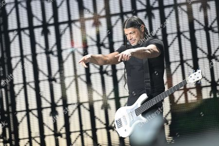 Metallica's bassist Robert Trujillo performs on stage during the band's concert at the Valdebebas venue in Madrid, Spain, 03 May 2019.