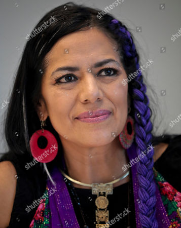 """Ana Lila Downs Sánchez, Mexican singer-songwriter and actress, poses during an interview about her new album """"Al Chile,"""", in New York"""