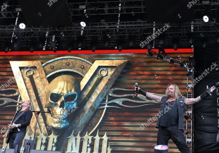 Vince Neil (R) performs during the first edition of the Domination Mexico 2019 music festival in Mexico City, Mexico, 03 May 2019. The festival will showcase national and international rock and metal bands and runs from 03 May to 04 May.