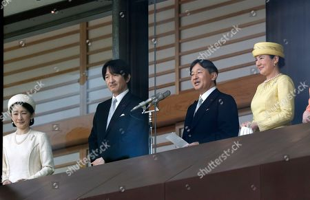Japan's new Emperor Naruhito (2-R) delivers a speech to the public with Empress Masako (R), Crown Prince Akishino (2-L) and Crown Princess Akishino (L) during their first appearance after ascension at the Imperial Palace in Tokyo, Japan, 04 May 2019. On 01 May, Emperor Naruhito succeeded his father Akihito who abdicated on 30 April.