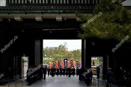 Well-wishers enter the Imperial Palace to greet Japan's new Emperor Naruhito and Empress Masako during their first public appearance after ascension at the Imperial Palace in Tokyo, Japan, 04 May 2019. On 01 May, Emperor Naruhito succeeded his father Akihito who abdicated on 30 April. On the left is Crown Prince Akishino.