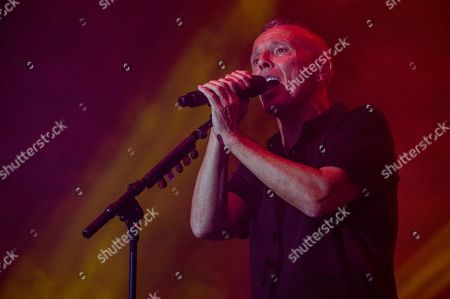 "Stock Picture of Curt Smith, of the English pop band Tears for Fears, performs onstage at the 7th annual Shaky Knees Music Festival, in Atlanta. The band lit up the massive crowd with their 1980s era hit ""Everybody Wants To Rule The World"