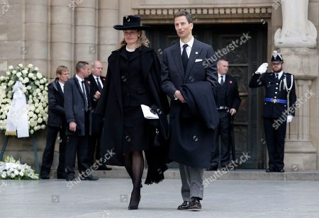Hereditary Prince Alois of Liechtenstein (R) and his wife Hereditary Princess Sophie of Liechtenstein (L) leave the Notre-Dame Cathedral after the funeral of Grand Duc Jean of Luxembourg, in Luxembourg, 04 May 2019. Grand Duc Jean died at the age of 98 on 23 April 2019.