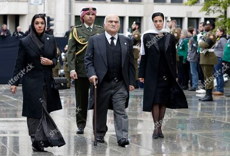 Prince El Hassan Bin Talal of Jordan (C), Princess Sarvath El Hassan of Jordan (L) and Princess Badiya of Jordan (R) arrive for the funeral of Grand Duc Jean of Luxembourg, in Luxembourg, 04 May 2019. Grand Duc Jean died at the age of 98 on 23 April 2019.