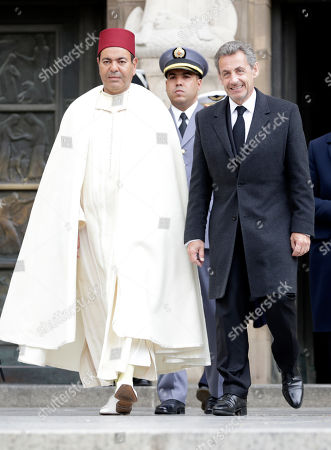 Prince Moulay Rachid of Morocco (L) and French former President Nicolas Sarkozy (R) leave the Notre-Dame Cathedral after the funeral of Grand Duc Jean of Luxembourg, in Luxembourg, 04 May 2019. Grand Duc Jean died at the age of 98 on 23 April 2019.