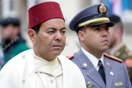 Prince Moulay Rachid of Morocco (L) arrives for the funeral of Grand Duc Jean of Luxembourg, in Luxembourg, 04 May 2019. Grand Duc Jean died at the age of 98 on 23 April 2019.
