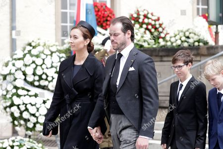 Prince Felix (R) and Princess Claire of Luxembourg (L) leave the Notre-Dame Cathedral after the funeral of Grand Duc Jean of Luxembourg, in Luxembourg, 03 May 2019. Grand Duc Jean died at the age of 98 on 23 April 2019.
