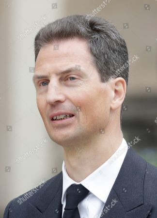 Stock Image of Hereditary Prince Alois of Liechtenstein leaves the Notre-Dame Cathedral after the funeral of Grand Duc Jean of Luxembourg, in Luxembourg, 03 May 2019. Grand Duc Jean died at the age of 98 on 23 April 2019.