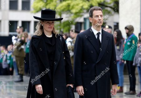 Crown Prince Alois of Liechtenstein of Liechtenstein (R) and his wife Hereditary Princess Sophie of Isenburg of Liechtenstein arrive for the funeral of Grand Duc Jean of Luxembourg, in Luxembourg, 04 May 2019. Grand Duc Jean died at the age of 98 on 23 April 2019.