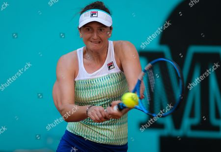 Irina-Camelia Begu of Romania in action during her first-round match