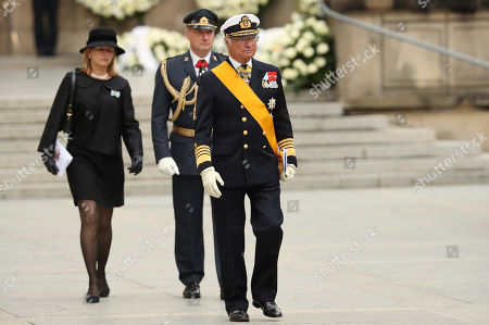 Sweden's King Carl Gustav leaves the Notre Dame cathedral after attending at the funeral of the Grand Duke Jean of Luxembourg, in Luxembourg