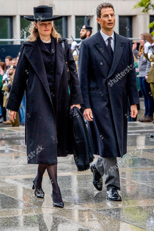 Stock Photo of Crown Prince Alois of Liechtenstein and the Crown Princess Sophie of Isenburg of Liechtenstein at the funeral of Grand Duke Jean of Luxembourg at Cathedral Notre-Dame of Luxembourg in Luxembourg City, Luxembourg on May 4, 2019. Grand Duke Jean of Luxembourg has died at 98, April 23, 2019.