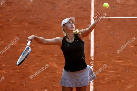 Yulia Putinseva of Kazakhstan in action against Irina-Camelia Begu of Romania during their first round match of the Mutua Madrid Open 2019 tennis tournament at Caja Magica in Madrid, Spain, 04 April 2019.