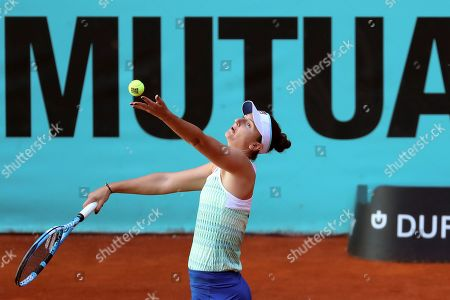 Irina-Camelia Begu of Romania in action against Yulia Putinseva of Kazakhstan during their first round match of the Mutua Madrid Open 2019 tennis tournament at Caja Magica in Madrid, Spain, 04 April 2019.
