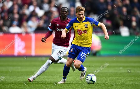 Pedro Obiang of West Ham chases Stuart Armstrong of Southampton