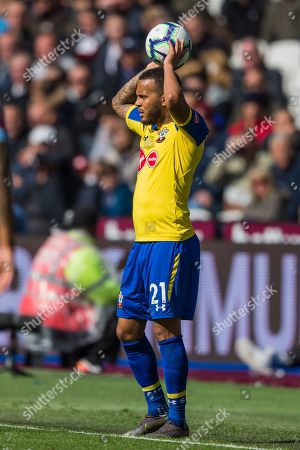 Ryan Bertrand (Southampton) waiting to throw in the ball  during the Premier League match between West Ham United and Southampton at the London Stadium, London