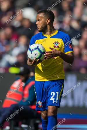 Ryan Bertrand (Southampton) with the ball  during the Premier League match between West Ham United and Southampton at the London Stadium, London