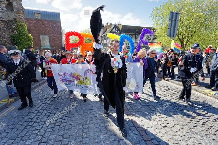 Stock Image of The Lord Mayor of Swansea, Councillor David Phillips, leads the parade