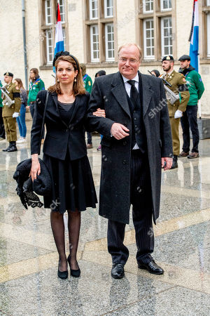 Prince Carlos of Bourbon-Parma and Annemarie Gualthérie van Weezel at the funeral of Grand Duke Jean of Luxembourg at Cathedral Notre-Dame