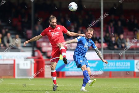 Crawley Town Joe McNerney (5) & Tranmere Rovers's James Norwood (10) during the EFL Sky Bet League 2 match between Crawley Town and Tranmere Rovers at The People's Pension Stadium, Crawley