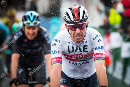 Portuguese rider Rui Costa of UAE Team Emirates crosses the finish line during the fourth stage of the 73rd Tour de Romandie cycling race, over 107.6km between Lucens and Torgon, Switzerland, 04 May 2019.