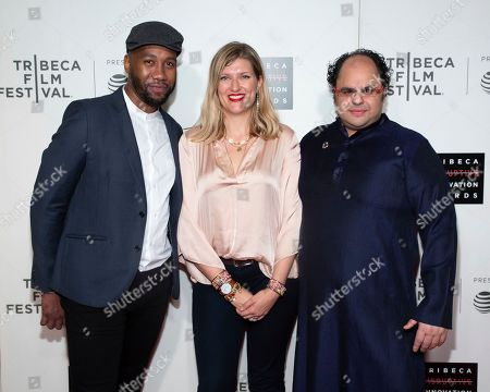 Ndaba Mandela, Beatrice Fihn, Kunal Sood. Ndaba Mandela, from left, presenter Beatrice Fihn and honoree Kunal Sood attend the 10th annual Tribeca Disruptive Innovation Awards at the Stella Artois Theater, in New York