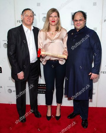 Craig Hatkoff, Beatrice Fihn, Kunal Sood. Co-founder of the Tribeca Film Festival and the Tribeca Film Institute Craig Hatkoff, from left, presenter Beatrice Fihn and honoree Kunal Sood attend the 10th annual Tribeca Disruptive Innovation Awards at the Stella Artois Theater, in New York