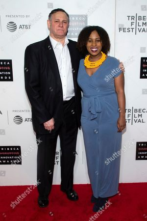 Craig Hatkoff, Ashley Edwards. Co-founder of the Tribeca Film Festival and the Tribeca Film Institute Craig Hatkoff, left, and honoree Ashley Edwards attend the 10th annual Tribeca Disruptive Innovation Awards at the Stella Artois Theater, in New York